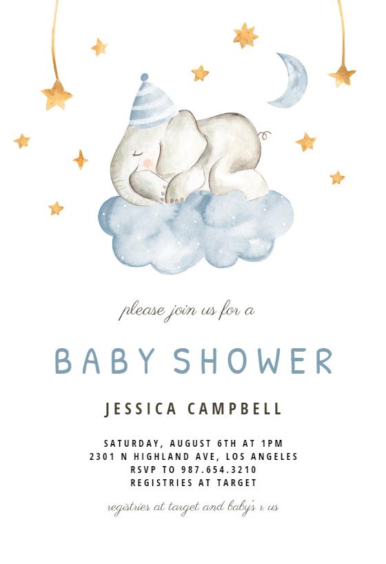 Sleeping Elephant And Girraffe Baby Shower Invitation Template Greetings Island Baby Shower Invitations Diy Free Baby Shower Invitations Printable Baby Shower Invitations