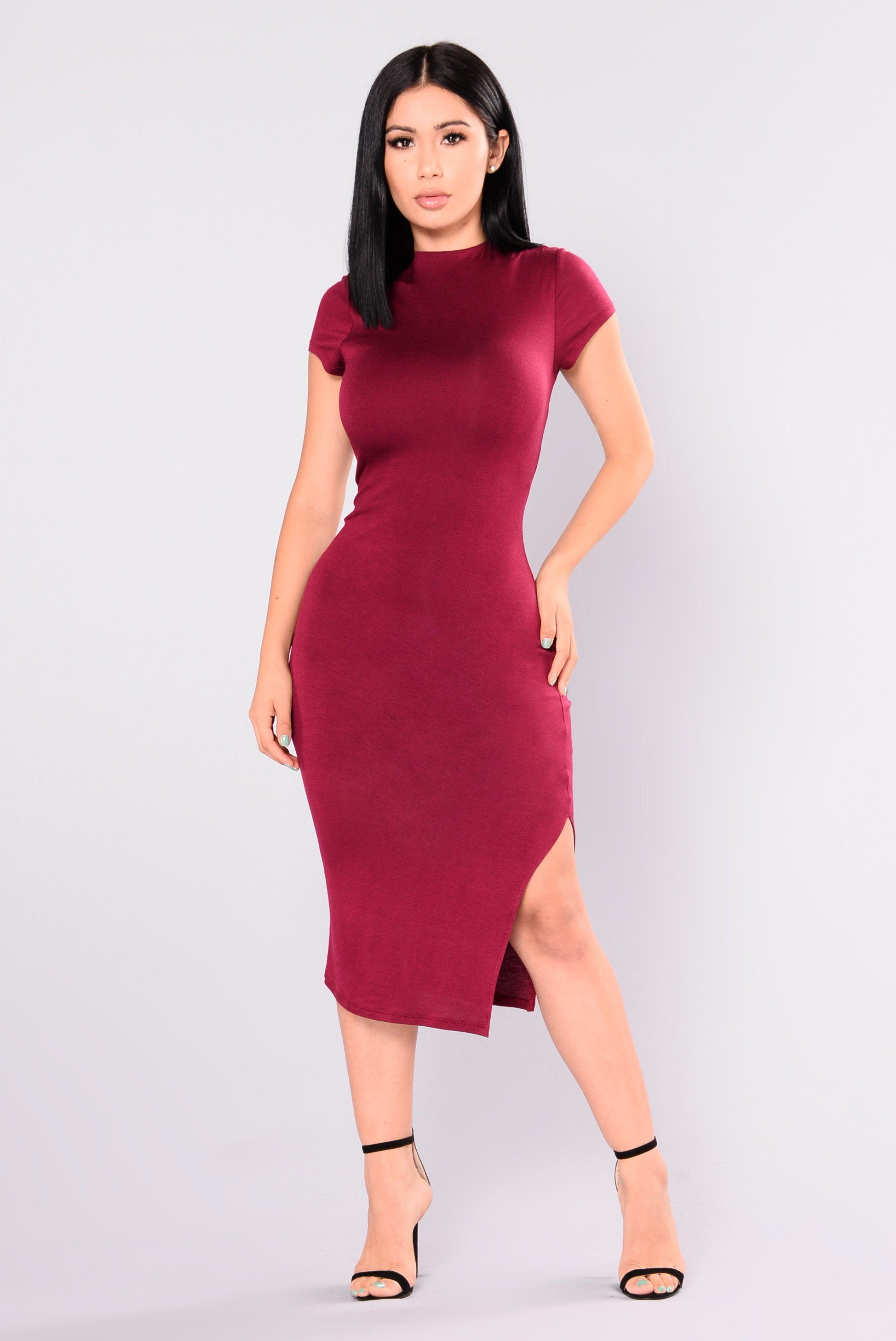 Available In Ruby And Black Cap Sleeve Midi Dress Lined Slit Side