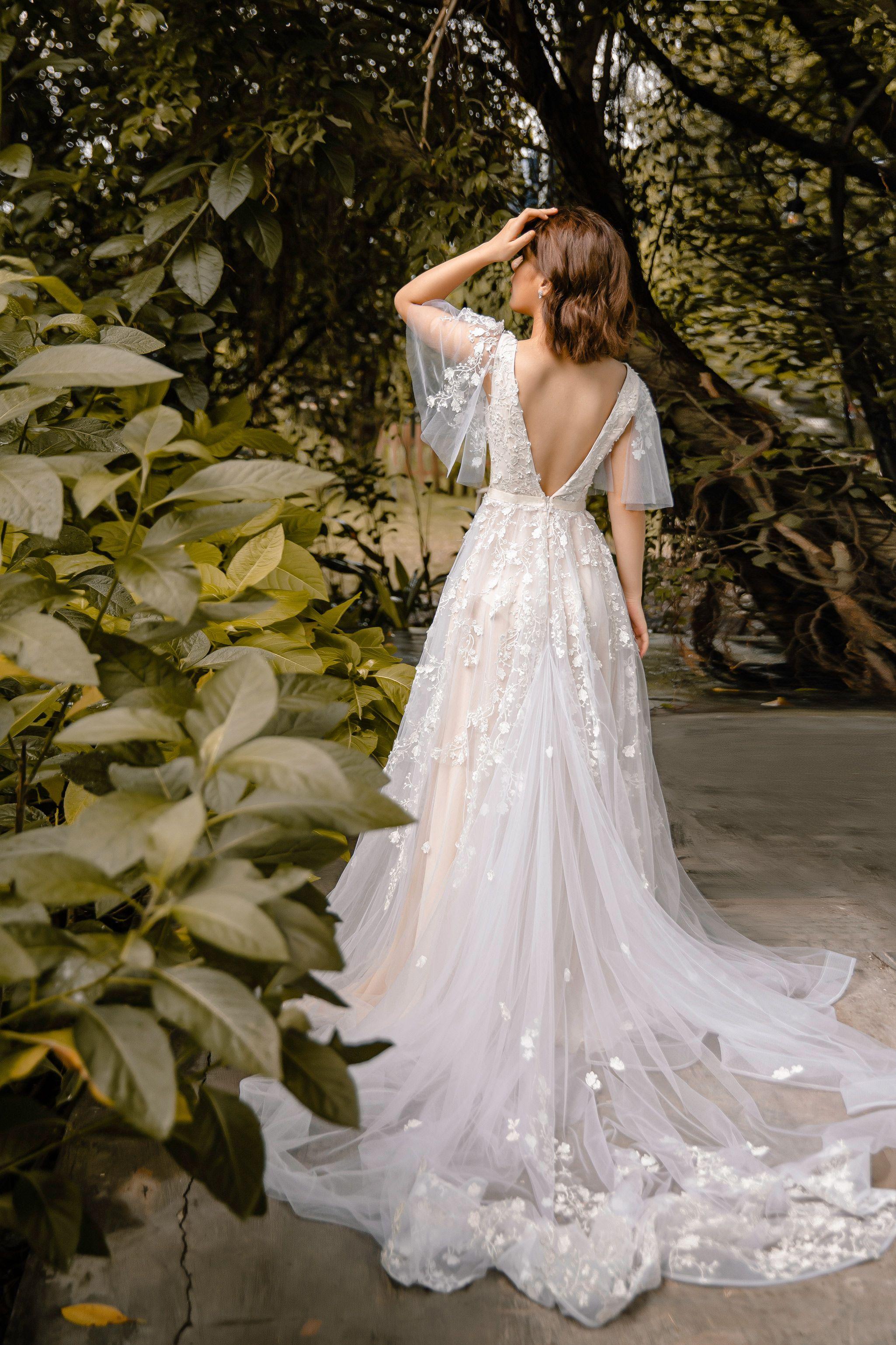 Sophia Vintage Blush Wedding Dress With Flutter Sleeve Open Back Wedding Dresses Lace Blush Pink Wedding Dress Wedding Dresses [ 3075 x 2050 Pixel ]