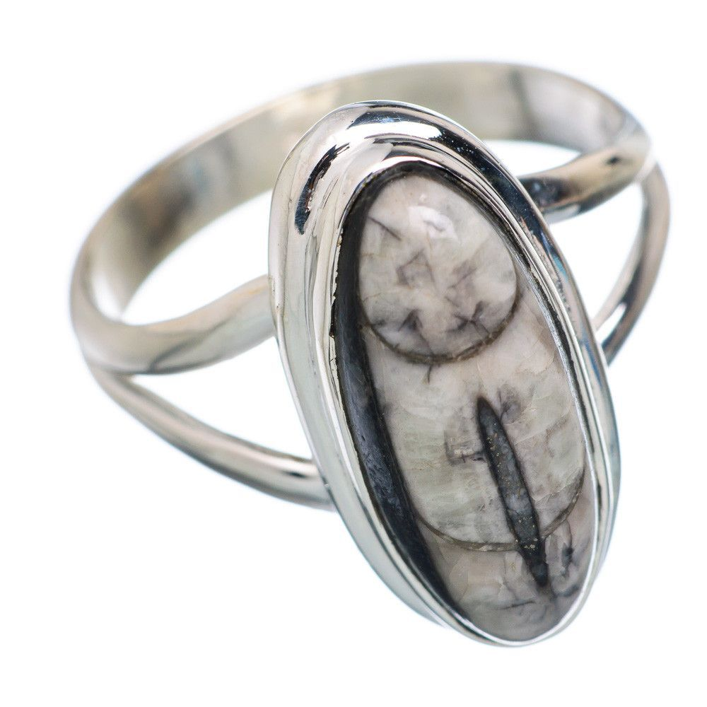 Rare Orthoceras Fossil 925 Sterling Silver Ring Size 8.25 RING649307