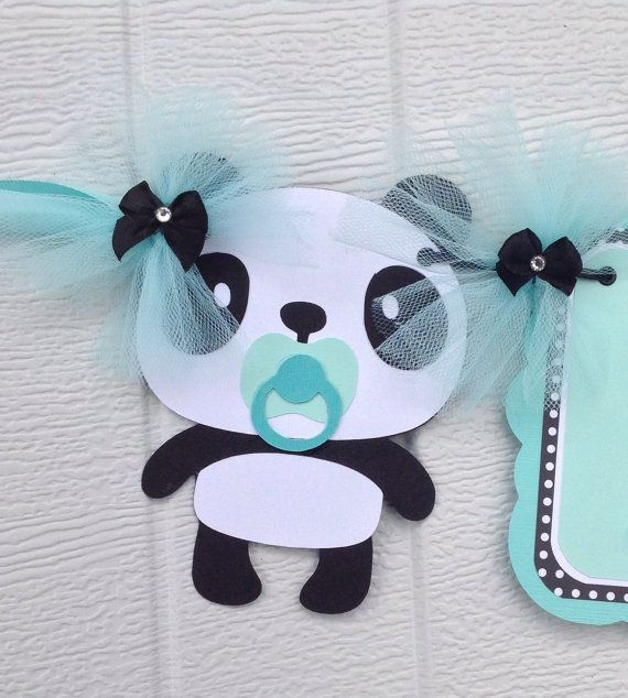 Panda Baby Shower Banner In Aqua And Black With By Thebannerbug