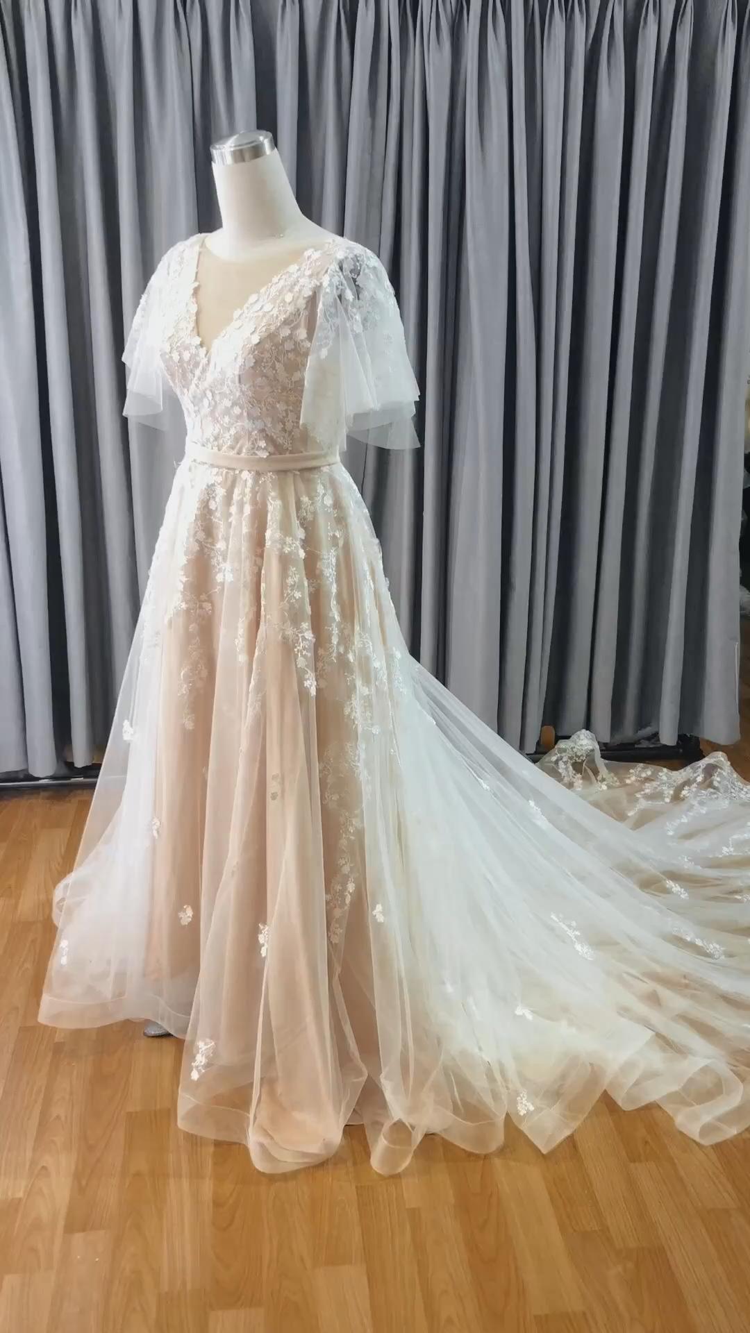 Simple Boho Wedding Dresses A Linie Lace Wedding Gowns
