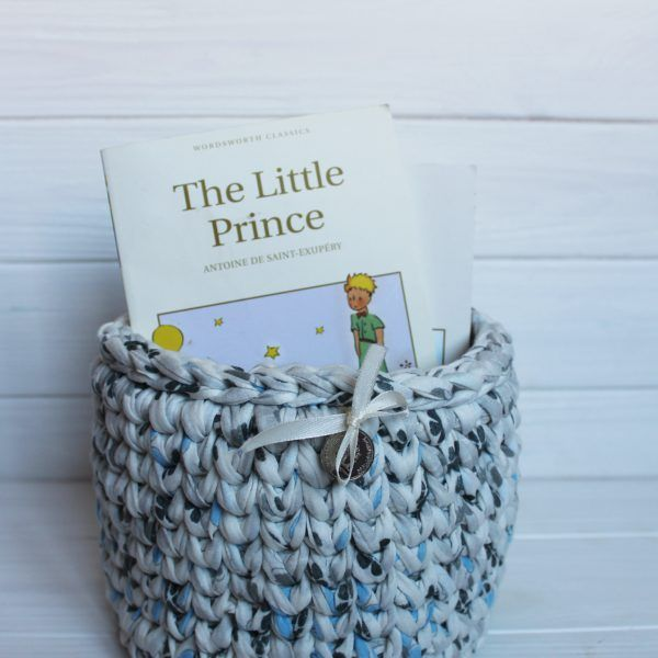 Interior knitted basket. Handmade with 100%  cotton yarn. For storage  small things. It holds its shape. Perfectly fit into any design