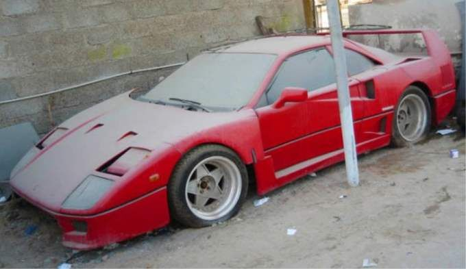 Abandoned-Exotics-Ferrari-F40 ABANDONED SUPERCARS OF DUBAI - http://www.gleems.com/520011/gleems-looks-at-the-abandoned-supercars-of-dubai/