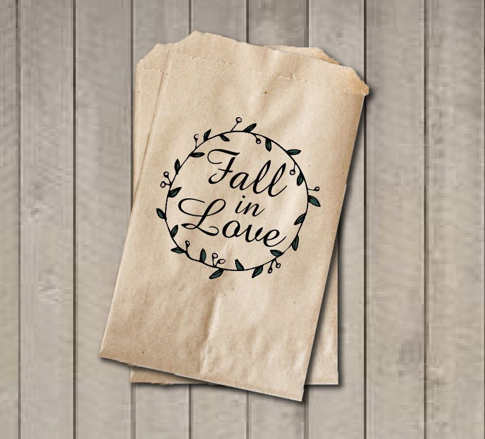Rustic Wedding Favor Bags, Fall in Love Favor Bags, Vintage Wedding ...