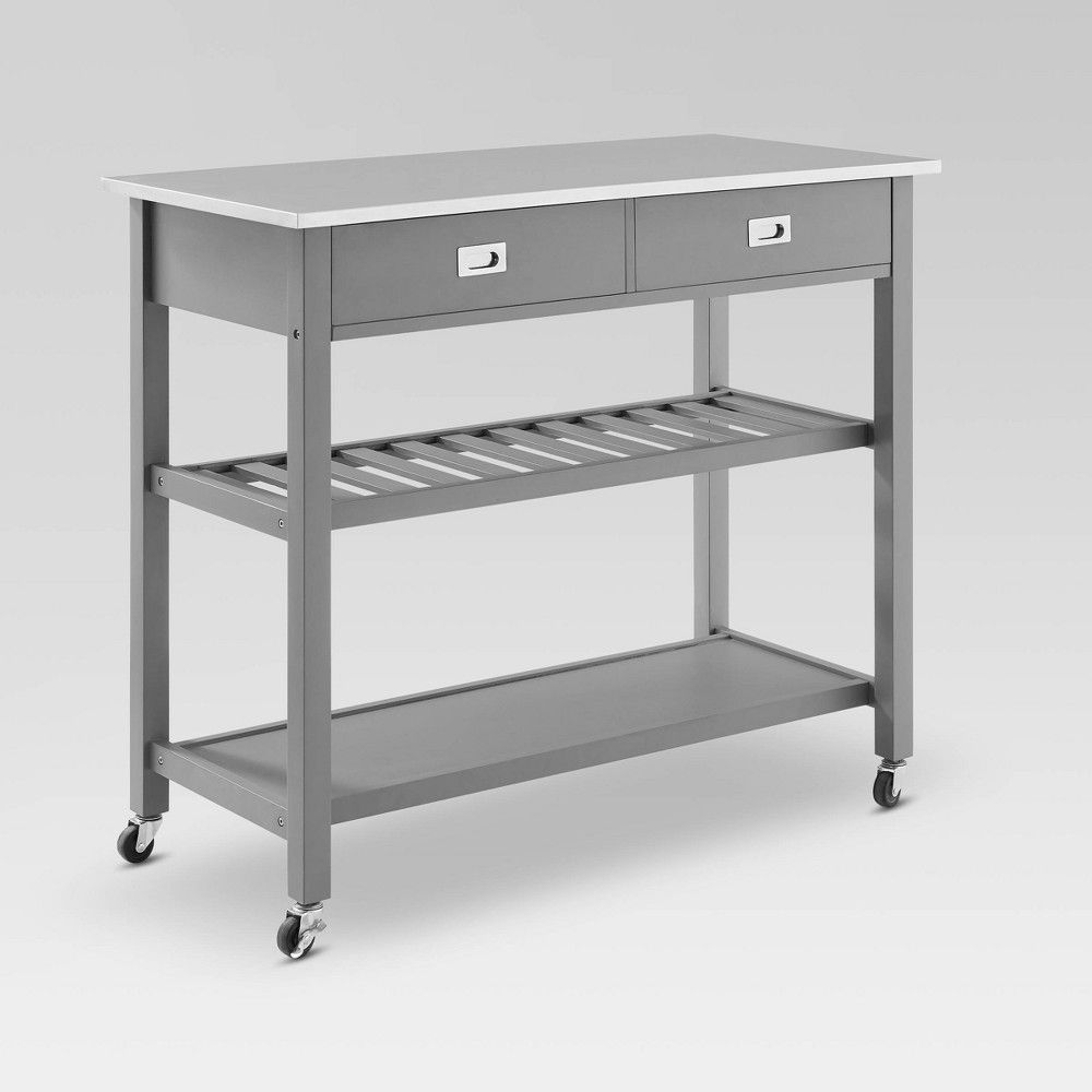 Philippe Kitchen Cart With Stainless Steel Top White Kitchen Cart Kitchen Cart Portable Kitchen Island