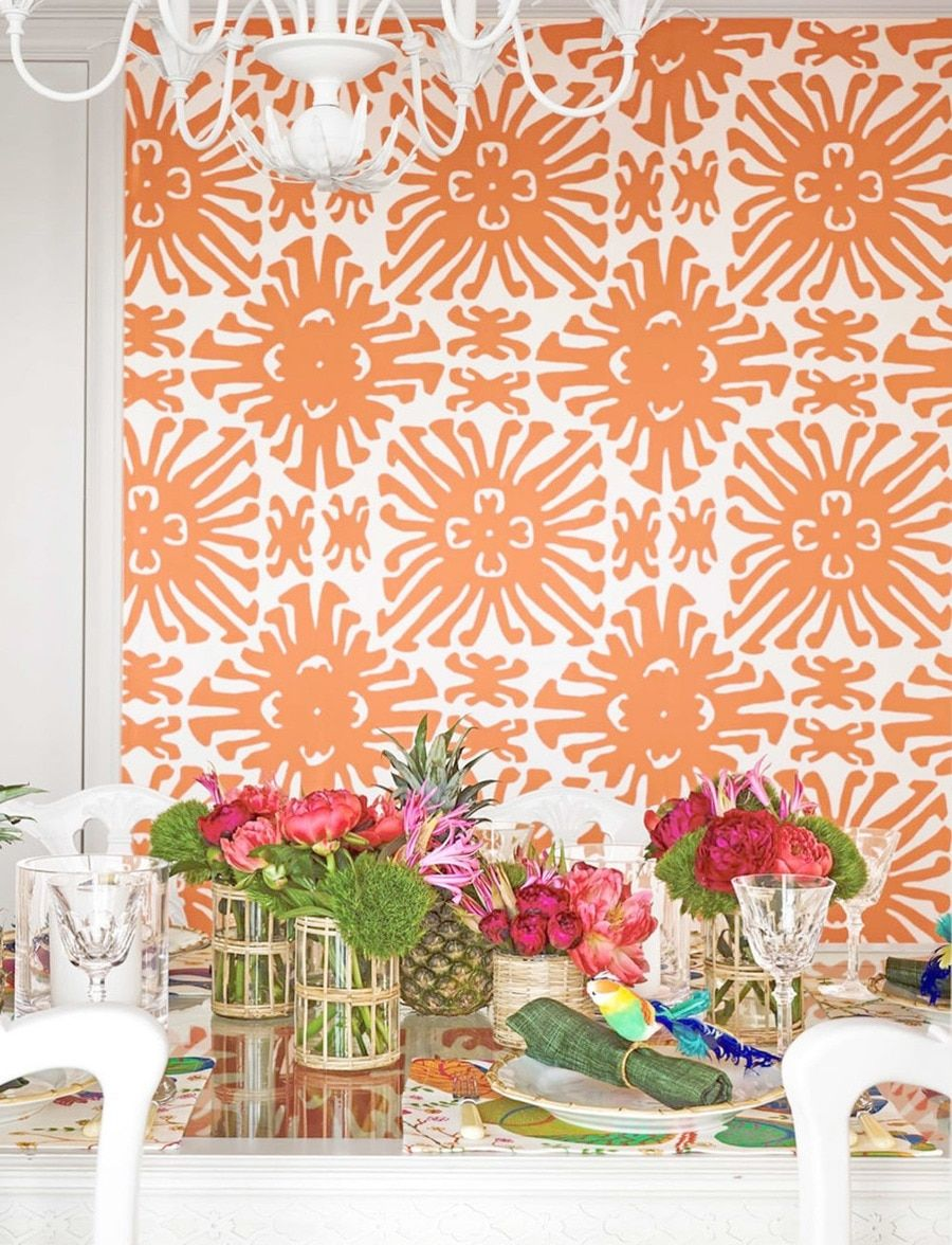 Quadrille China Seas Sigourney Large Scale Wallpaper Light Orange
