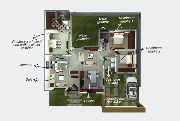 Plano de una planta. El modelo Indra consta de: Cancelería de ...