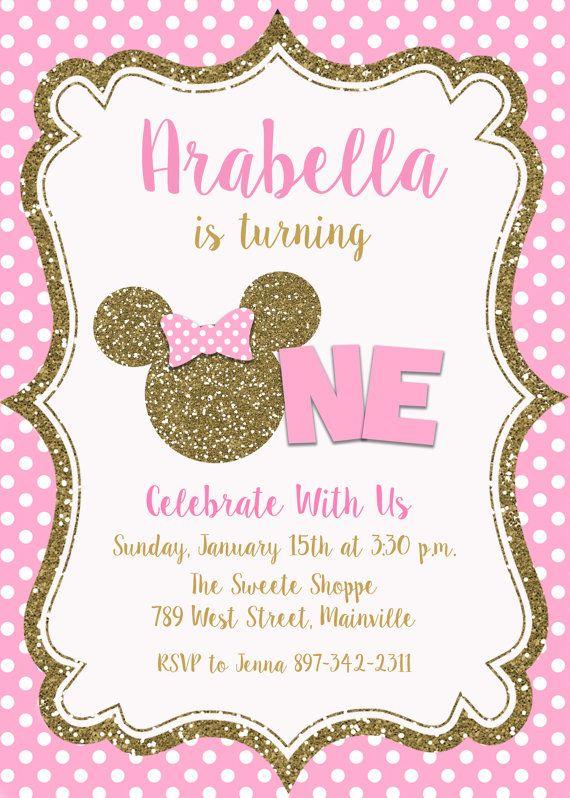 Bebé Minnie Mouse Primera Invitación Fiesta Por