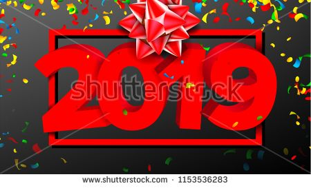 2019 Red Sign Vector Sign 3d Numbers 2019 Greeting Card Design
