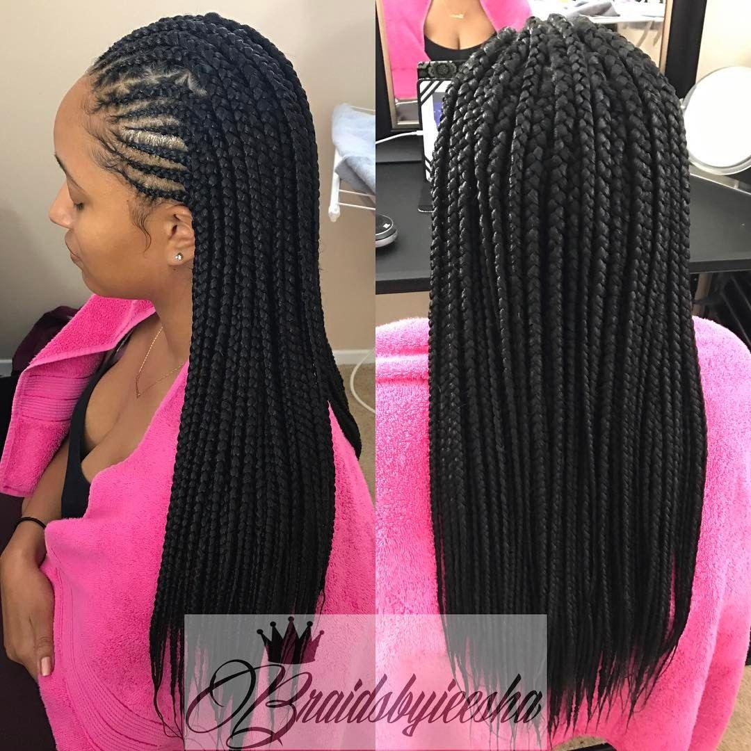127 Likes 8 Comments Ieesha Lake Braidsbyieesha On Instagram Medium Waistlength With Cornrows Hair Styles Box Braids Hairstyles Natural Hair Styles