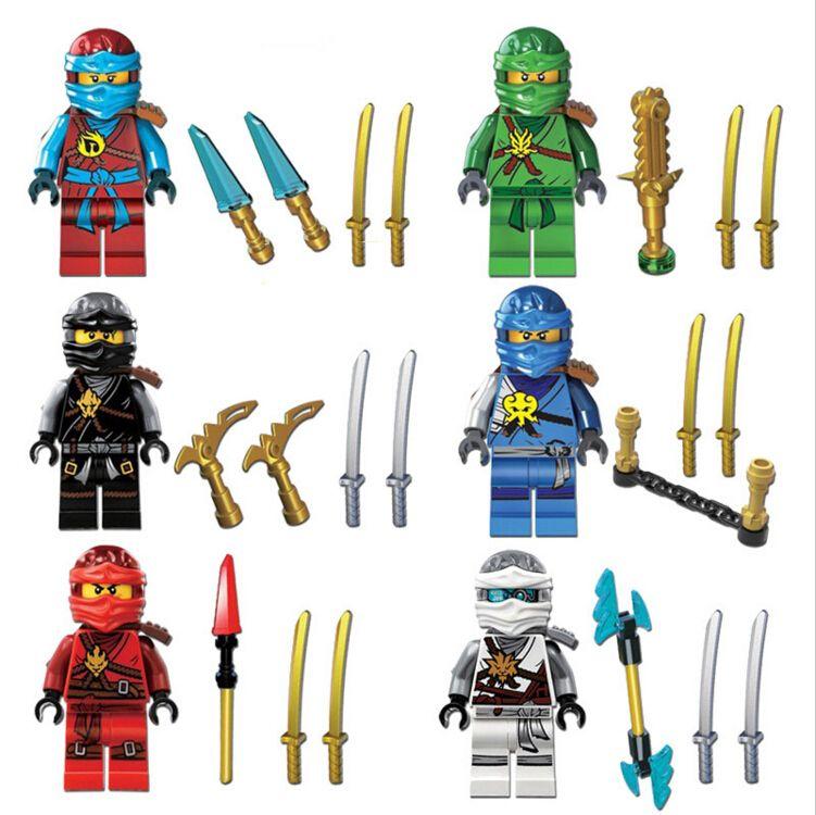 Lego 4 New Ninjas Ninjago Minifigures Zane Kai Figures Weapons Pieces