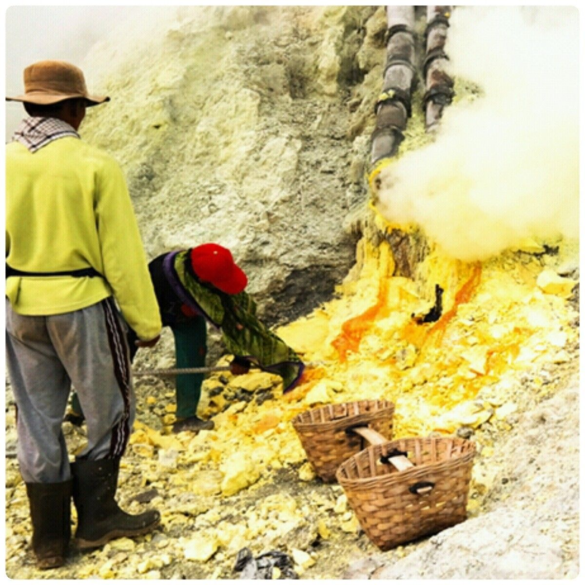 Sulfur miner at Ijen crater, Indonesia