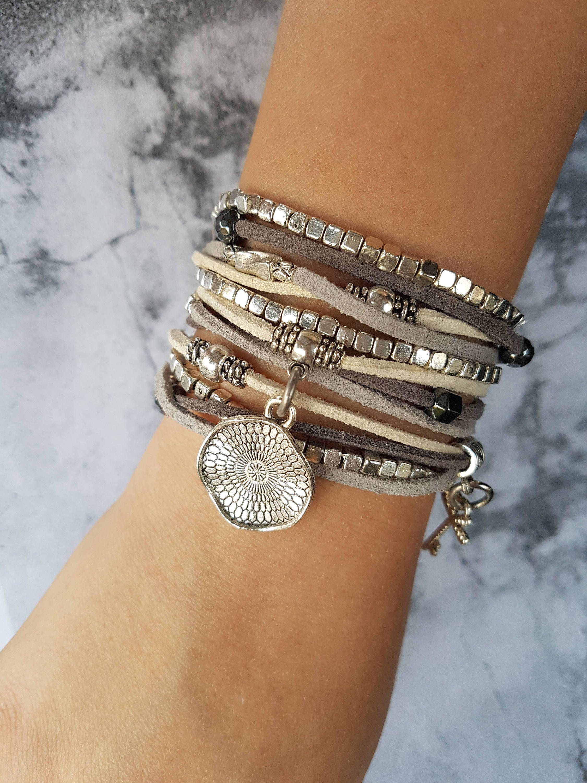 Silver Ethnic Leather Wrap Bracelet Boho Long