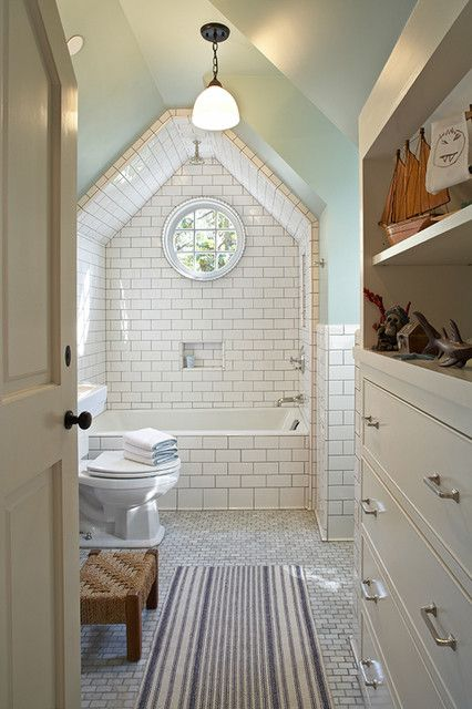 Bathroom Tiles Floor To Ceiling tim barber - vintage bathroom with vaulted ceiling, subway tiles