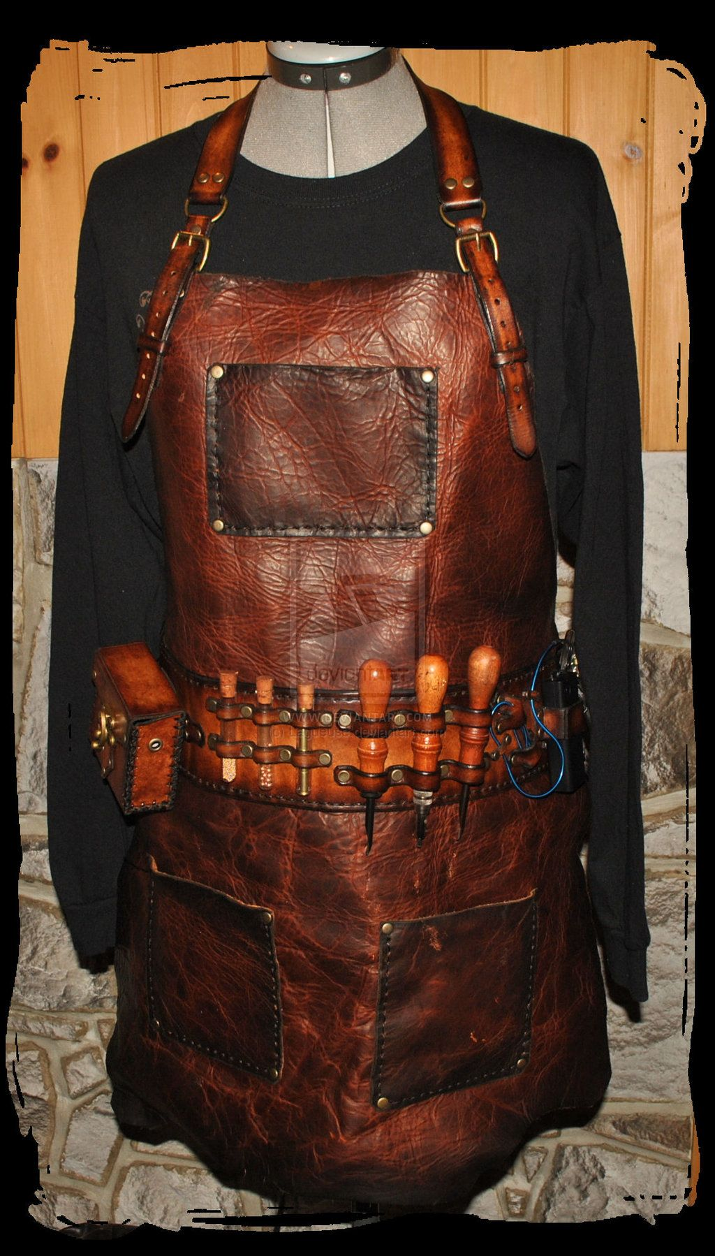 White leather apron lecture - Steampunk Leather Mxs Apron By Lagueuse Deviantart Com On Deviantart