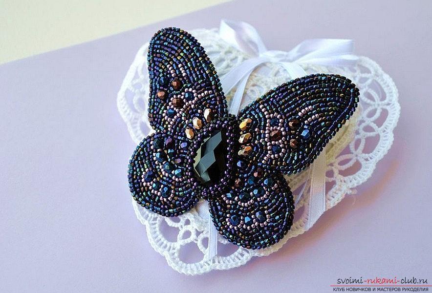 Сделать брошь бабочку своими руками из бисера