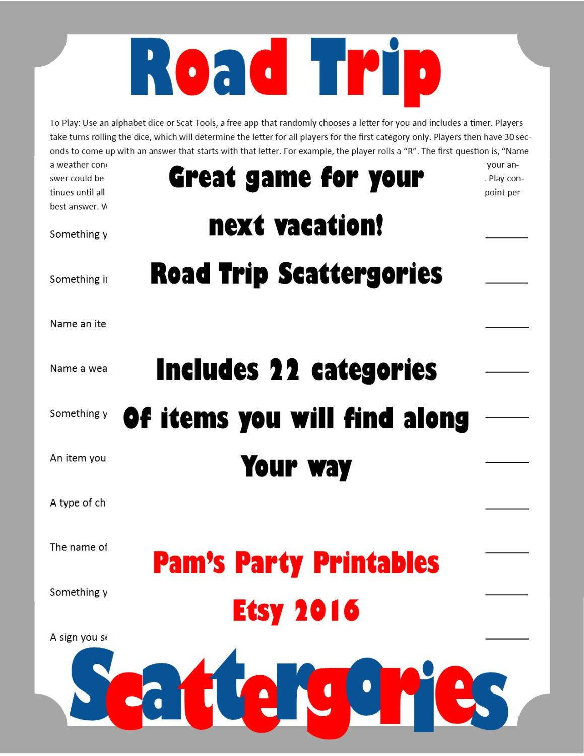 Road Trip Scattergories Printable Game