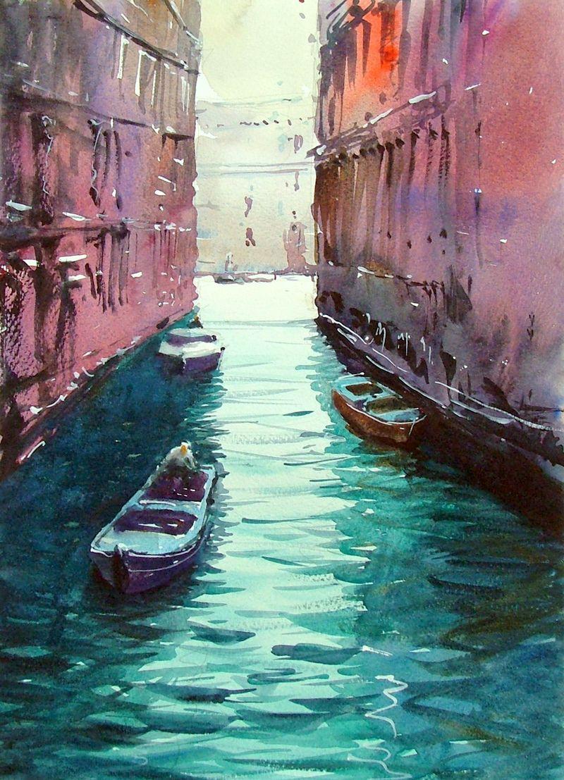 Venice Canal 5 By Tim Wilmot Paysage Aquarelle Et Venise