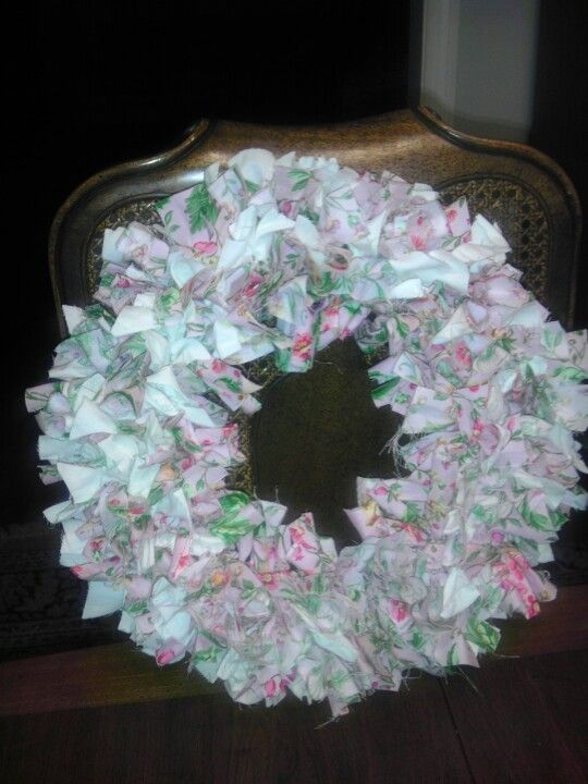 12 Inch Rag Wreath 4 99 Cent Scraps From Joannes A Metal Wreath Frame 2 50 And A Little Fabric From An Old Shee Metal Wreath Frame Wreath Metal Wreath Frame