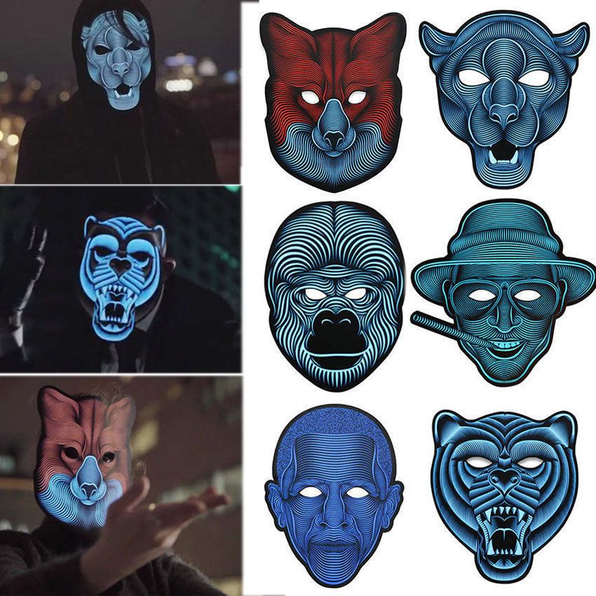 Sound Voice Control LED Light Up Mask Glowing Cosplay