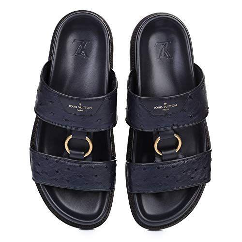 c14ff09fc7b987 Louis Vuitton Man Shoes Flip-Flops Sandals Leather Black Blue 100% Authentic  US 12 (EU 45)