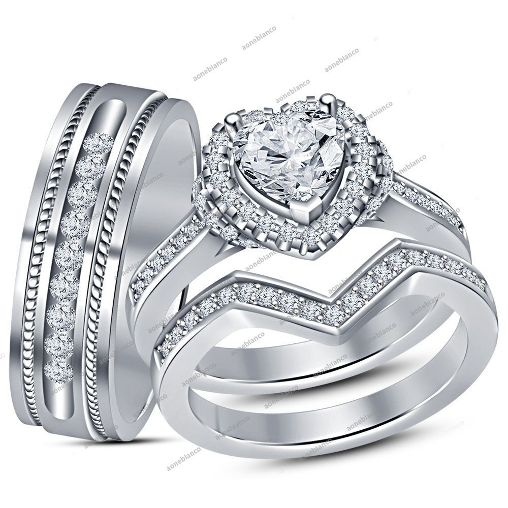 His/Her 1.50 CT Diamond Engagement Bridal Ring Trio Set in 14K White Gold Finish #aonebianco