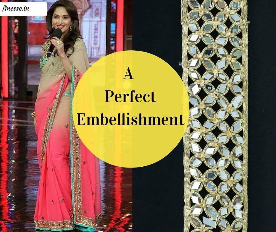The golden colored embroidered designer, Indian lace, border with real mirrors is perfect for crafts, dresses, ceremonial dresses, saris,lehengas, costumes, home decoration etc.It is embroidered with a very fine finish with mirrors and golden metallic thread in a symmetrical pattern.  #Finesse #laces #Maduridixit #Embroidered #Borders #Mirrors