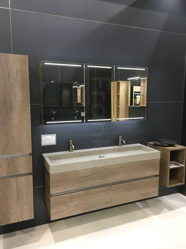 Waschtischkombination Nebraska Eiche In 140x45x50 C M Mit Spiegelschrank Deluxe Passe Badezimmer Unterschrank Holz Spiegelschrank Waschtisch Holz Unterschrank