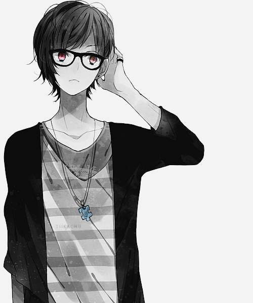 Black And White Glasses Pink Eyes Anime Anime Guys With Glasses Anime Anime Characters