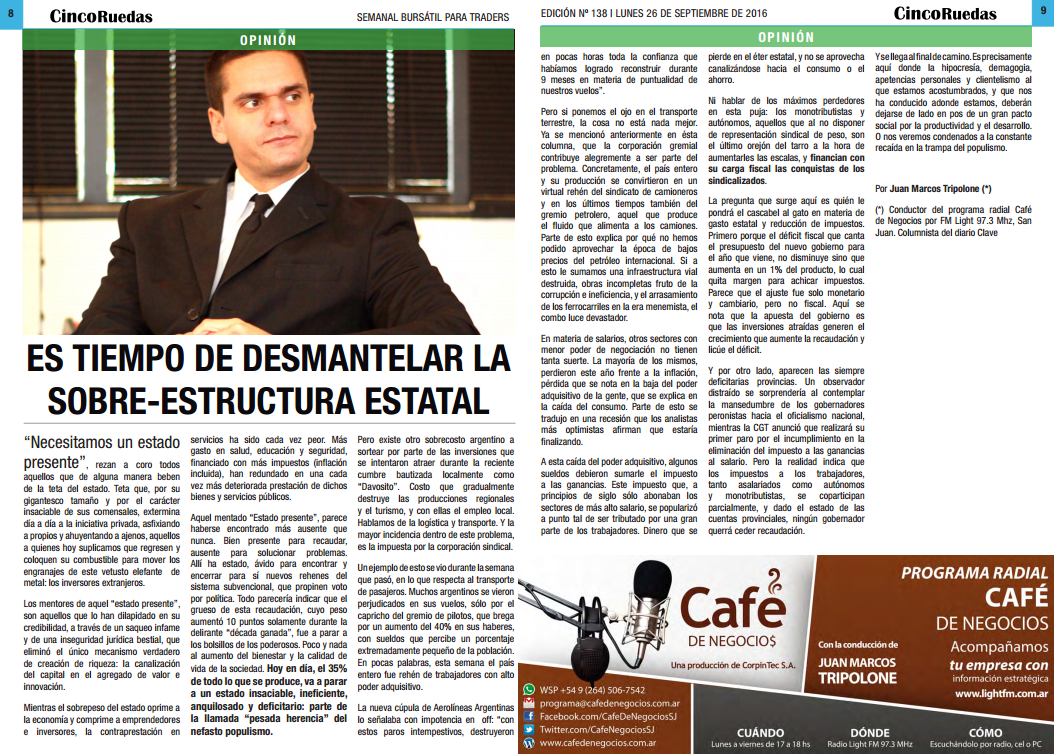 Edición digital impresa de la columna de Juan Marcos Tripolone en 5 Ruedas | El Diario del Inversor Bursátil