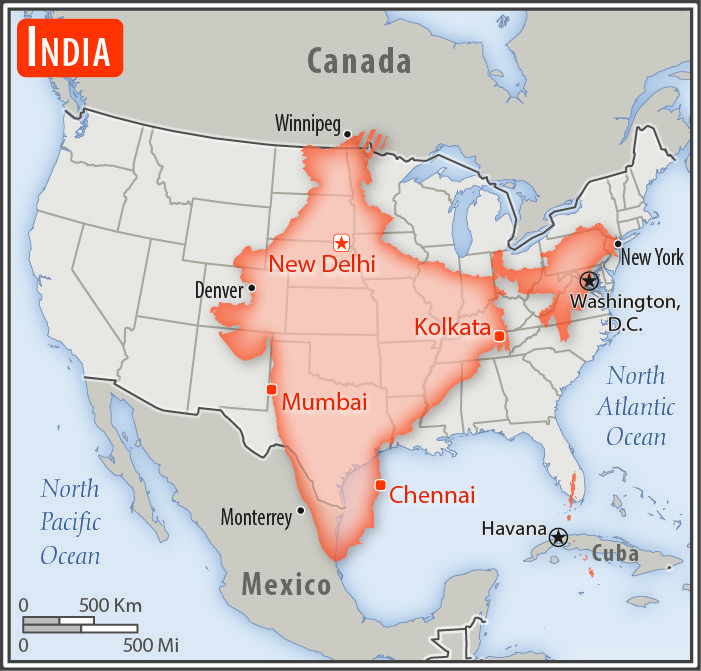 Real Map Of The United States.Size Of India Compared To United States Maps India Map Asia Map