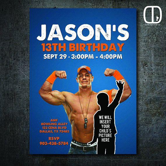 John Cena Custom Invitation With Photo Boy Girl Wrestling