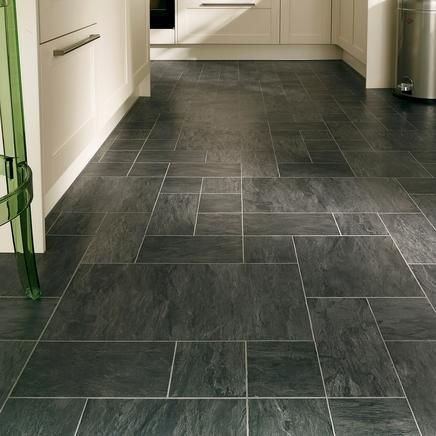 These Professional Continuous Black Slate Laminate Tiles Are Almost  Seamless Resulting In A Floor That Looks Very Natural.