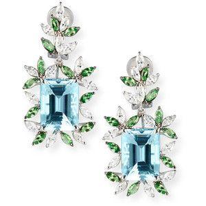 Alexander Laut 18K White Gold Diamond, Tourmaline & Peridot Drop Earrings