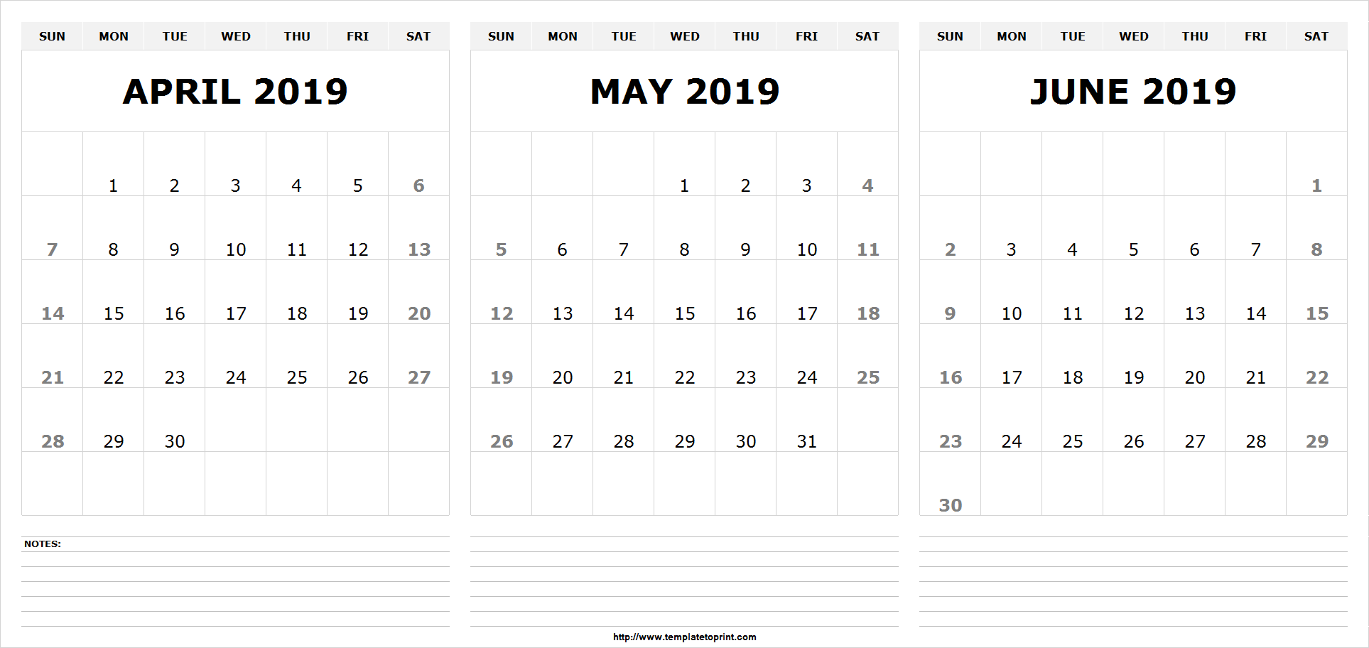 April May June 2019 Calendar Template April May June