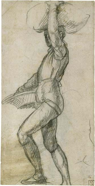 Andrea del Sarto (Andrea d  Young Man Taking a Step, with a Basket, and Balancing a Sack, 1511–24  Black chalk