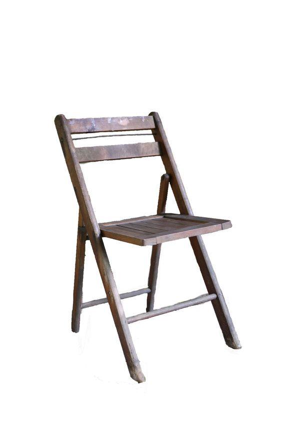 Vintage Industrial Wood Folding Chair