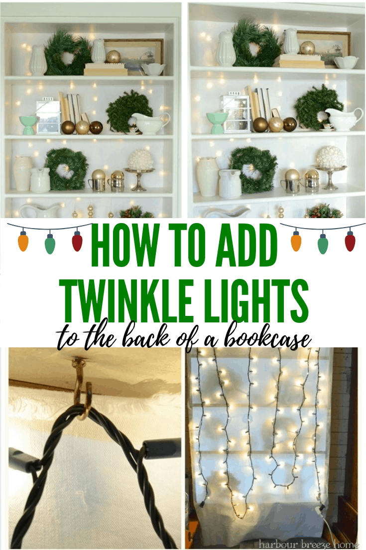 Christmas Bookcase Decorating Idea With Twinkle Lights Bookcase Decor Christmas Bookshelf Light Backdrop