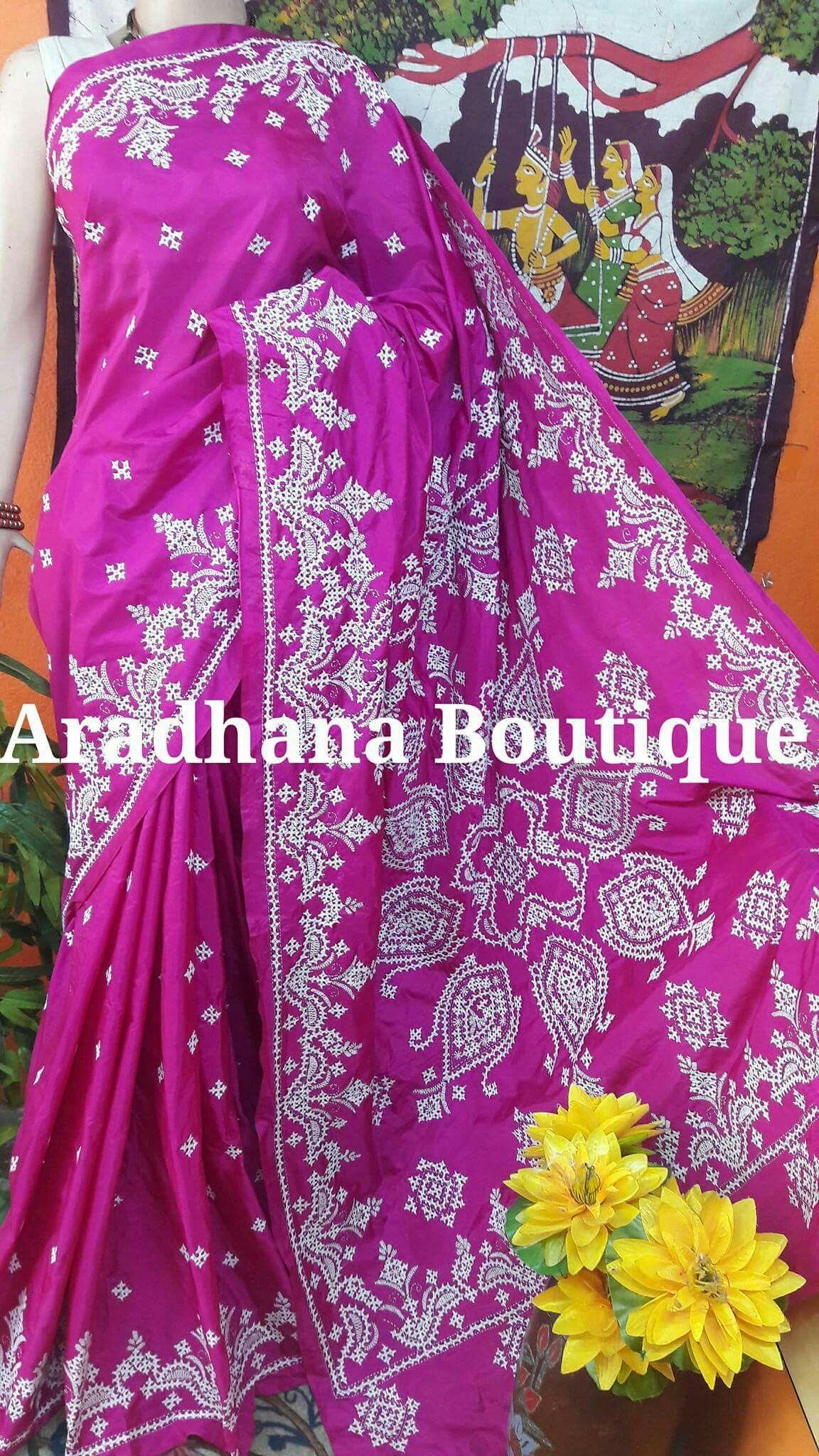 Sindhi Stitch Saree Drapes Embroidery Kutch Work Embroidery Saree