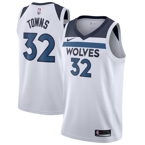 8d3b97d33de Nike Timberwolves  32 Karl-Anthony Towns White NBA Swingman Association Edition  Jersey
