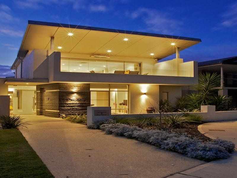 Concrete Modern House Exterior With Balcony Decorative Lighting