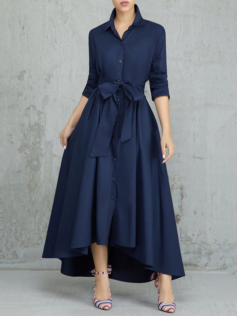 Popjulia Shirt Collar High Low Elegant Long Sleeve Bow Asymmetric Dress Casual Dresses Ankle Length Dress Tie Waist Maxi Dress [ 1200 x 900 Pixel ]