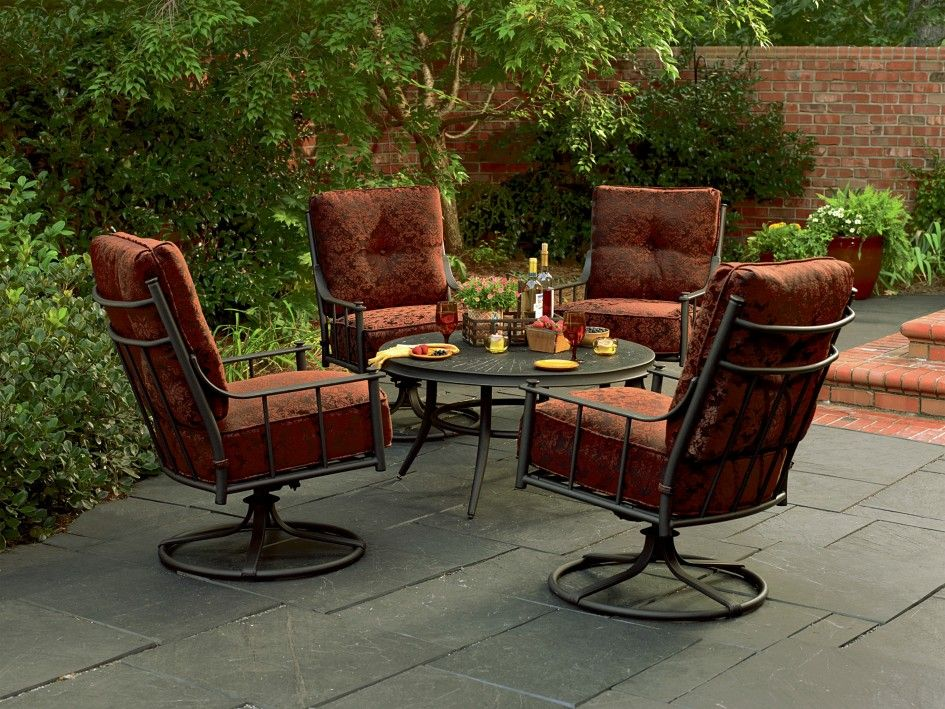 Patio Furniture Sets With Swivel Chairs.Outdoor Deep Seating Patio Furniture Sets 5 Pc Metal Conversation