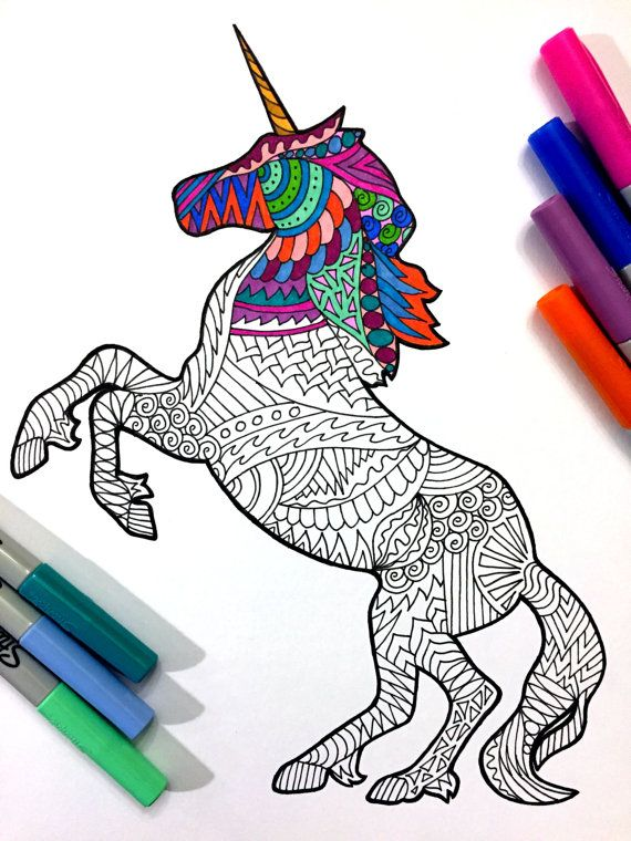 Unicorn - PDF Zentangle Coloring Page | plantillas | Arte, Mandalas ...