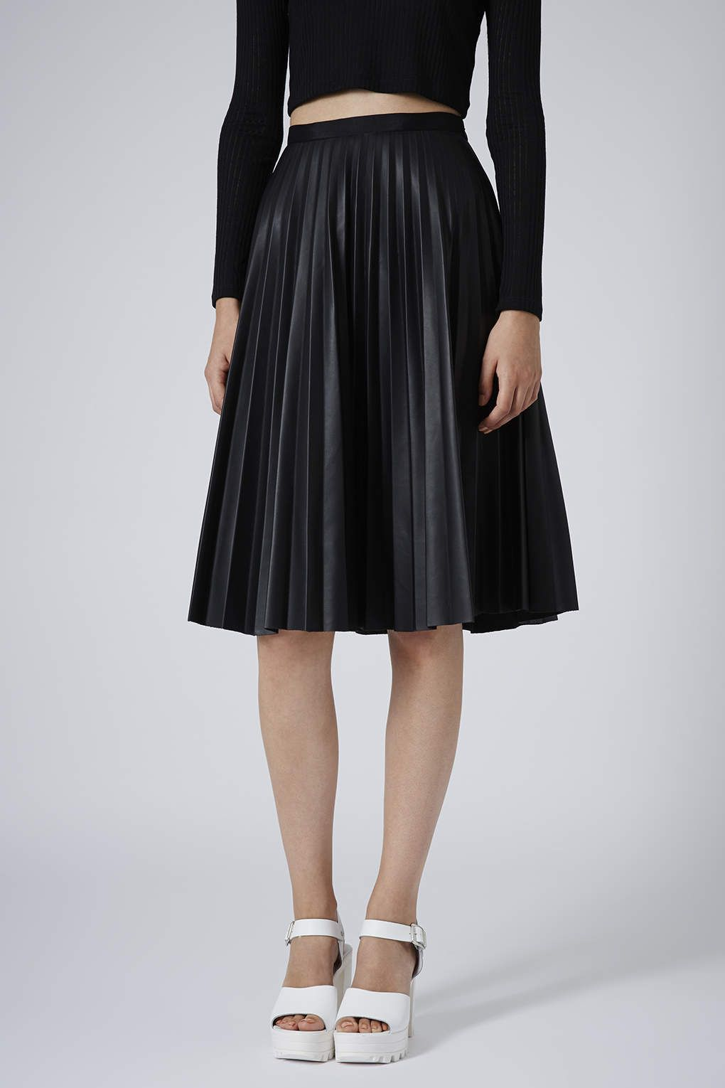PU Black Pleated Midi Skirt | Black pleated midi skirt, Topshop ...