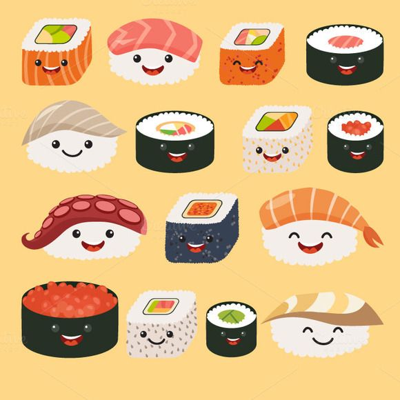 Funny Sushi With Cute Faces Roll And Sashimi Set Happy Charact By Rimma Z