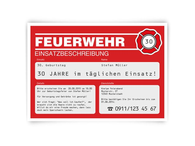 einladungskarten feuerwehr einsatz zum geburtstag feuerwehrparty pinterest feuerwehr. Black Bedroom Furniture Sets. Home Design Ideas