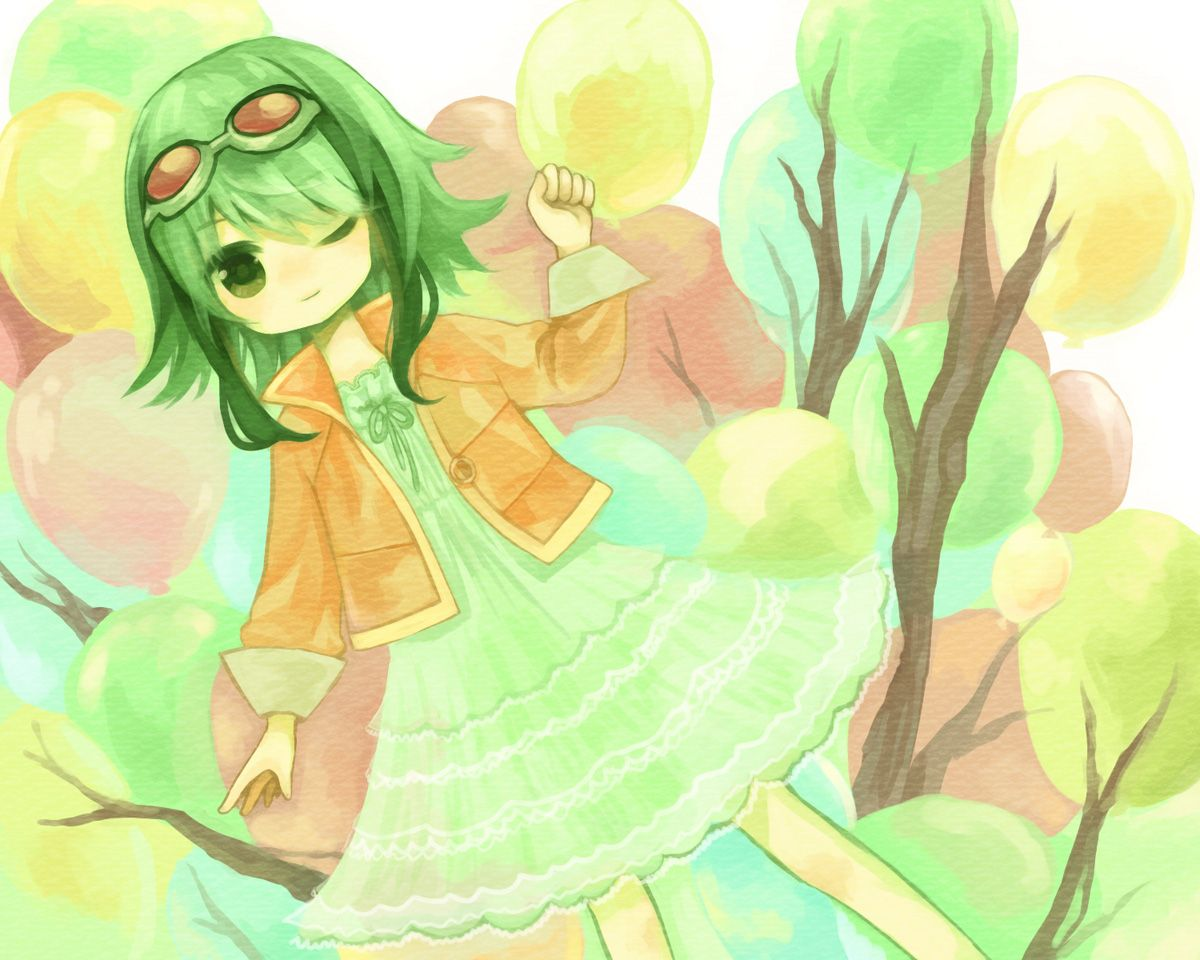 chibi dress goggles green eyes