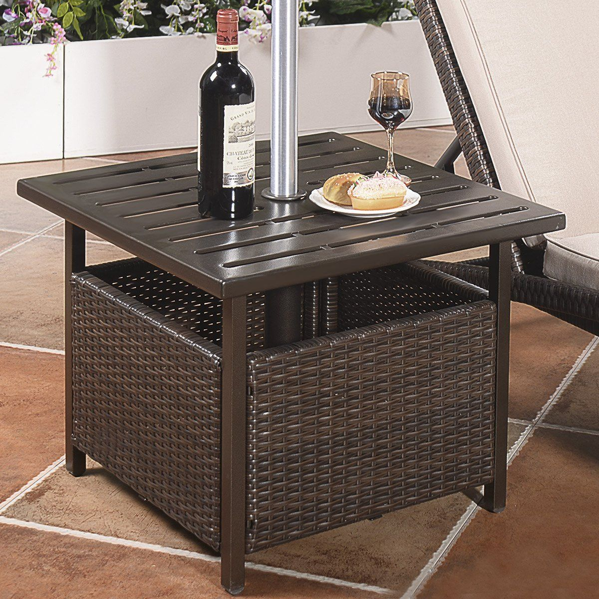 Giantex Patio Rattan Wicker Umbrella Side Table Stand With Umbrella Hole Deck Table Patio Umbrella Stand Metal Side Table